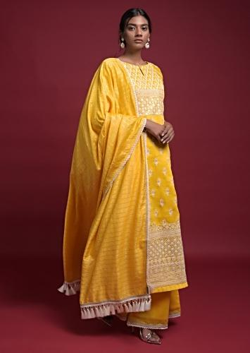 Daffodil Yellow Straight Cut Suit In Cotton With Thread And Sequins Work In Floral Ethnic Pattern And Buttis Online - Kalki Fashion