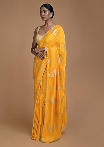 Dandelion Yellow Saree In Silk With Weaved Floral Motifs In Repeat Pattern Online - Kalki Fashion