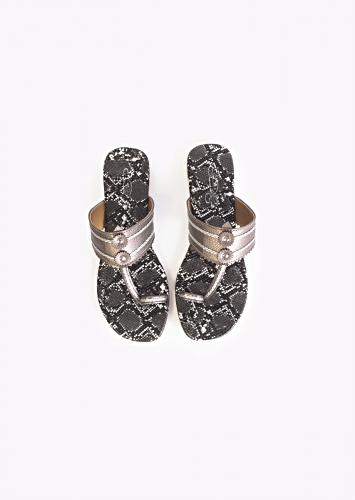 Dark Grey Kolhapuri Flats With Black And White Snake Print Sole  By Sole House