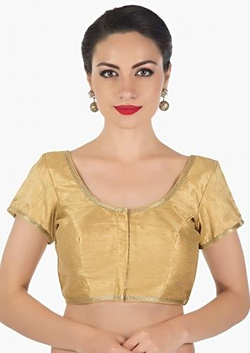 3f96ab5b9b5e78 Dark beige blouse in raw silk highlighted in zari lace only on Kalki