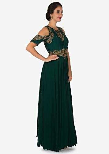 3b52703f30 Dark green gown in georgette crafted in resham and zari embroidered work  only on Kalki