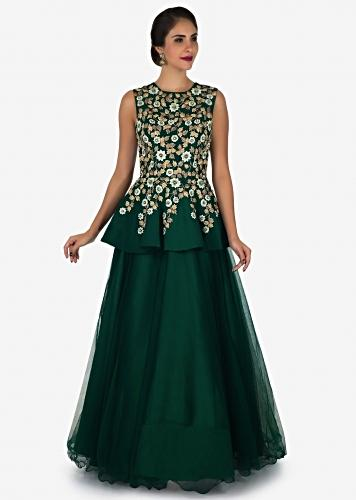 b3f3139742 Dark green gown in taffeta crafted in resham and zari embroidered work only  on Kalki