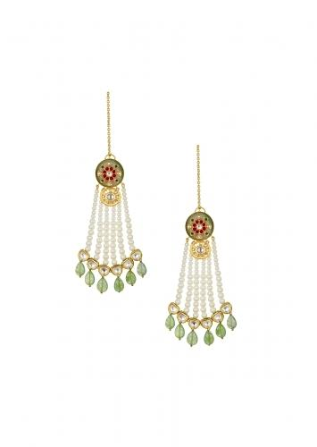 Dazzling Kundan Polki Earrings With Fluorides And White Shell Pearls Strings Online - Joules By Radhika