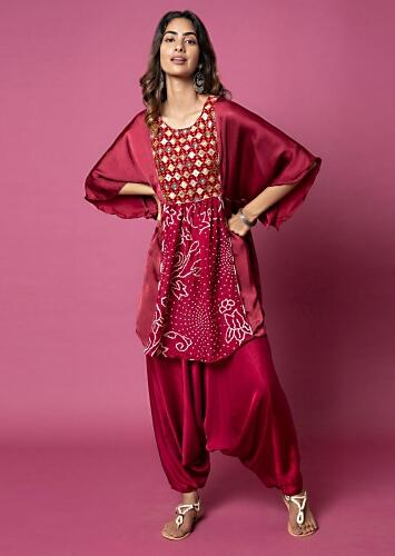 Deep Red Cowl Dhoti Suit With Bat Sleeve Tunic Featuring Bandhani And Embroidered Yoke Online - Kalki Fashion