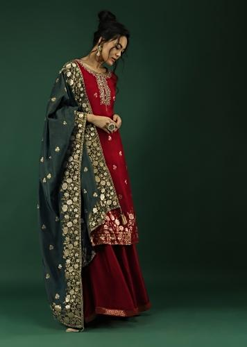 Deep Red Palazzo Suit In Silk With Brocade Floral Buttis And Contrasting Steel Blue Brocade Dupatta Online - Kalki Fashion