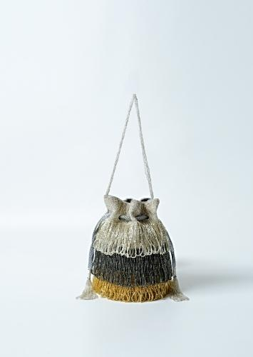 Drizzle Potli Bag With Japanese Bead Fringes In Silver, Grey And Golden  Online - Kalki Fashion