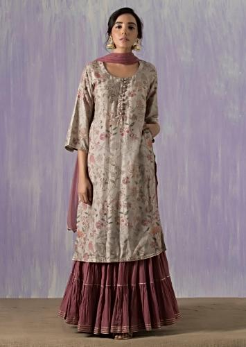 Dull grey Suit matched with skirt in butti print and gotta lace work Online - Kalki Fashion