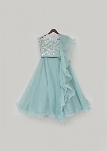 Dusty Blue Lehenga Choli In Net With Shimmer Sequin Accents And Ruffle Organza Dupatta By Fayon Kids