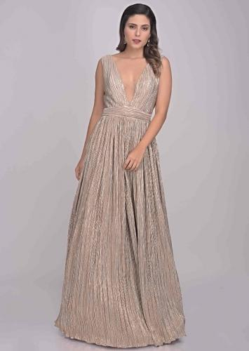 a71675be5f Dusty pink and gold crushed lycra gown only on Kalki