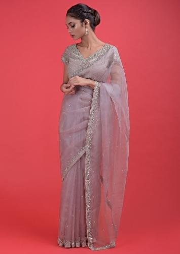 Dusty Rose Pink Saree In Organza Cut Dana And Sequins Embellished Border And Buttis Online - Kalki Fashion