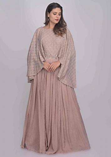 Dusty Rose Pink Gown In Satin And Georgette With Attached Cape Online - Kalki Fashion