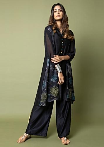 Ebony Black Palazzo Suit With Multi Color Bandhani Jacket Detailed With Hand Embroidery Online - Kalki Fashion