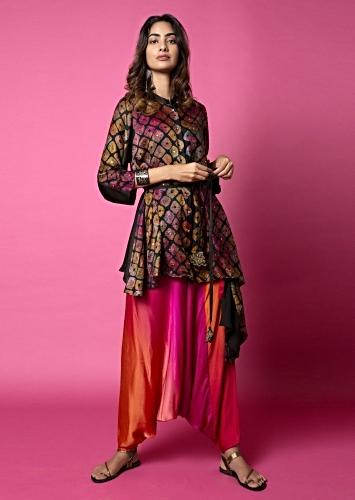 Ebony Black Shirt With Watercolor Bandhani And Hand Embroidery Paired With Sunrise Shaded Cowl Pants Online - Kalki Fashion
