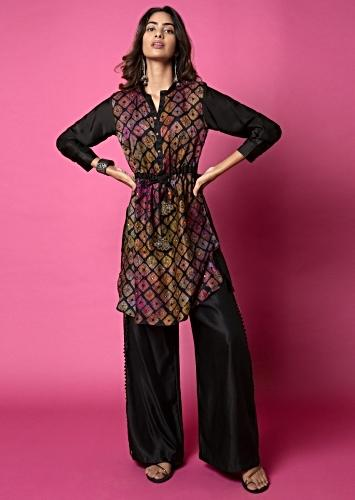 Ebony Black Tunic And Box Pleat Palazzo Set Featuring Water Color Effect Bandhani And Hand Embroidery Online - Kalki Fashion