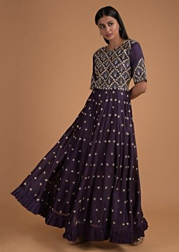 Eggplant Purple Anarkali Suit With Pleated Frill On The Hem And Floral Embroidery Online - Kalki Fashion