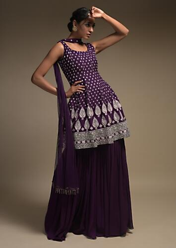 Eggplant Purple peplum Suit In Georgette With Resham Work Buttis And Floral Pattern- Online Kalki Fashion