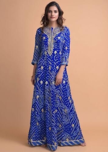 Egyptian Blue Anarkali Suit In Georgette With Bandhani Print And Gotta Work Online - Kalki Fashion