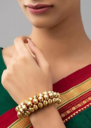 Elegant Red Silk Thread Bracelet With Gold Plated Beads Online - Joules By Radhika