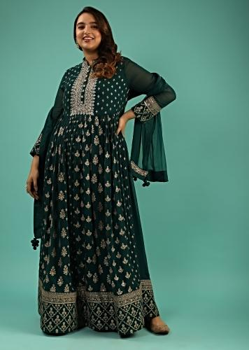 Emerald Green Anarkali Suit In Georgette With Sequins And Zari Embroidered Floral Buttis And Chiffon Dupatta Online - Kalki Fashion