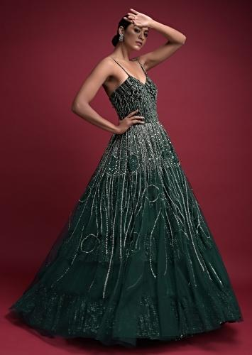 Emerald Green Corset Gown In Net With Velvet Bodice With Sequins Work In Geometric Pattern Online - Kalki Fashion