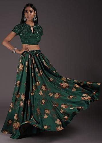 Emerald Green Floral Satin Skirt Set With An Embellished Crop Top With Front Cut Out And Tie Up Back Online - Kalki Fashion