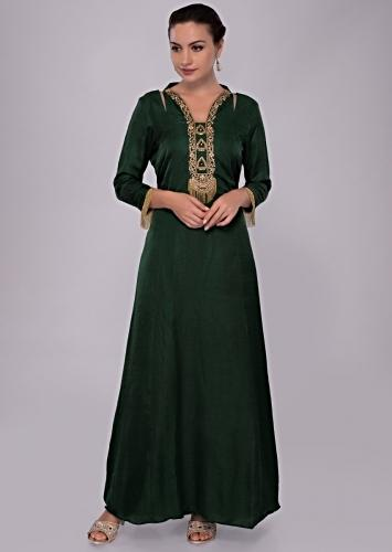 3799a8735fe Emerald green tunic dress with embroidered neck and placket only on Kalki