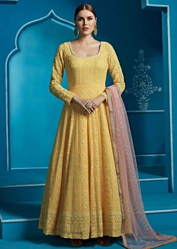3bc169b2cd10 Featuring yellow anarkali suit embellished in thread and moti embroidery