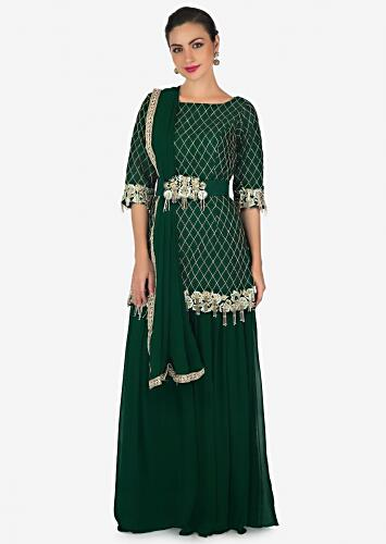 6c5824b393 Bottle green palazzo suit beautified in resham and embroidered tassel  embroidered work only on Kalki