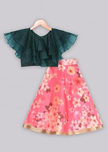 Floral printed organza lehenga paired with green ruffle top Online - Free Sparrow