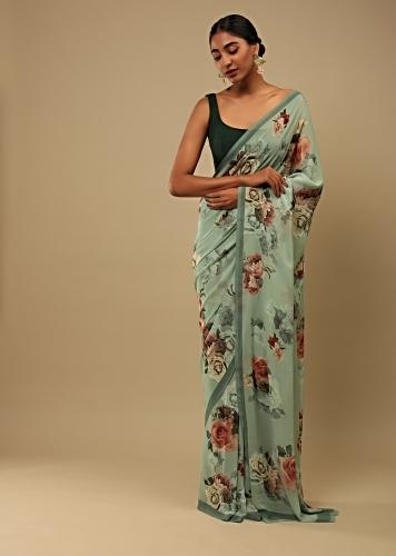 Fog Green Saree In Crepe Georgette With Printed Rose Motifs And Unstitched Blouse Online - Kalki Fashion
