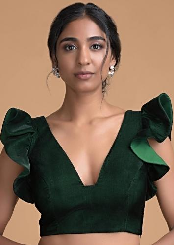 Forest Green Blouse In Velvet With Trapeze Neck And Ruffle Sleeves Online - Kalki Fashion