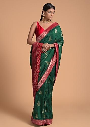 Forest Green Saree In Dola Silk With Brocade Woven Triangular Buttis And Contrast Red Border Online - Kalki Fashion