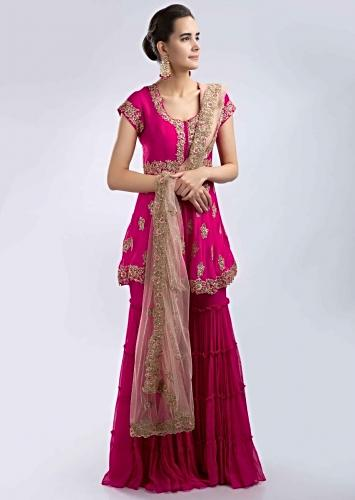 0efd010317b Fuchsia pink hand embroidered georgette sharara suit set with peach net  dupatta only on Kalki