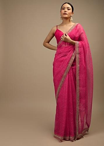Fuchsia Pink Saree In Organza With Bandhani Jaal And Gotta Patti Embroidered Floral Motifs On The Border Online - Kalki Fashion