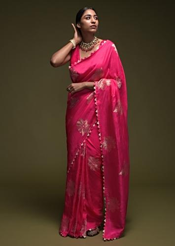 Fuchsia Pink Saree In Silk Blend With Woven Floral Motifs And Origami Lace On The Border Online - Kalki Fashion
