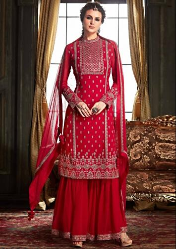 Fuchsia Pink Sharara Suit In Georgette With Zari And Sequins Work Online - Kalki Fashion