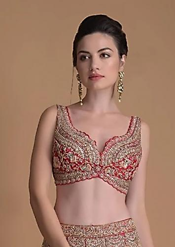 Fuchsia Rose Blouse Hand Embroidered With Zardosi And Cut Dana Work In Floral Motifs Online - Kalki Fashion