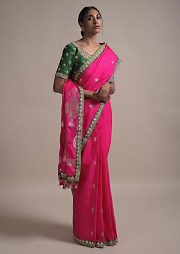 Fuchsia Saree In Silk With Weaved Floral Buttis And Gotta Embroidered Border Online - Kalki Fashion