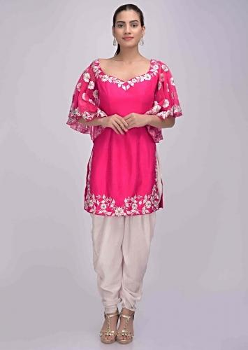 c52d65f7f7 Fuschia pink suit in cotton silk with powder pink crepe dhoti only on Kalki