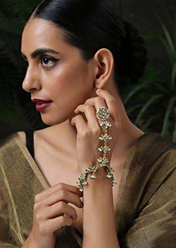 Gold And Green Hathphool Features Kundan In An Exquisite Floral Pattern With Meenakari, Shell Pearls And Green Beads By Paisley Pop