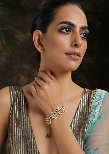 Gold And White Bracelet With Kundan And Shell Pearls Assembled In Floral Motifs By Paisley Pop
