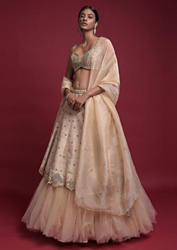 Gold Beige Lehenga Choli In Hand Embroidered Raw Silk With Fancy Hem And Net Under Layer Online - Kalki Fashion