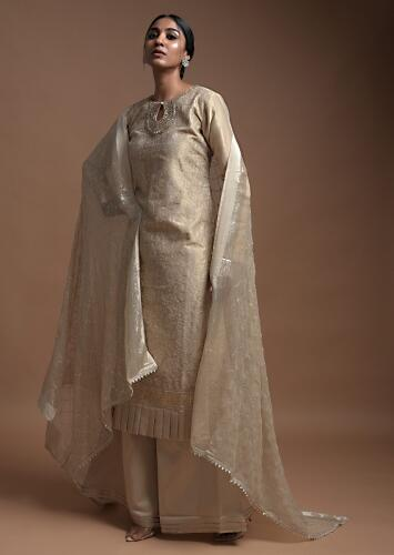Gold Beige Palazzo Suit In Silk With Thread Embroidered Paisley Jaal And Pleated Frill On The Hem Online - Kalki Fashion