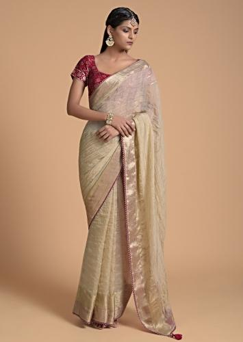 Gold Beige Saree In Zari Kota Silk With Woven Checks Design And Red Lace On The Border Online - Kalki Fashion