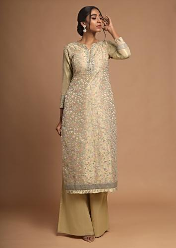 Gold Beige Straight Cut Suit With Palazzo Pants And Multi Color Resham Embroidered Jaal Online - Kalki Fashion