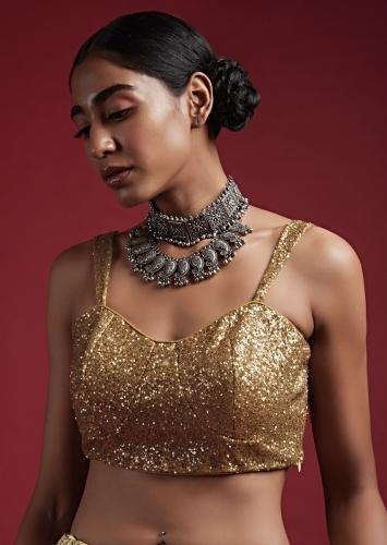 Gold Blouse In Sequins Fabric With Tapering Straps On The Shoulders And Corset Neckline Online - Kalki Fashion