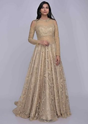 8297a6d019 Gold ethnic gown in embroidered net fabric only on Kalki