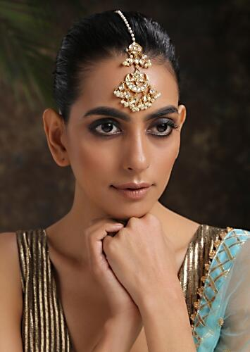 Gold Mangtika Boasts Rich Elements Like Timeless Kundan Work And Dainty Pearl Hangings In Crescent Shape By Paisley Pop