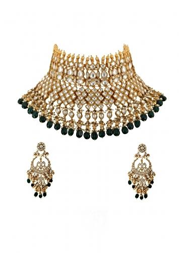 Gold Plated Bridal Kundan Necklace And Chandbalis With Green And Gold Beads By Riana Jewellery