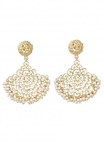 Gold Plated Chandelier Earrings With Filigree Design And Pearls By Zariin